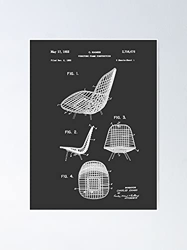 AZSTEEL Eames DKR Iconic Mid Century Chair Furniture Patent Drawing Design Poster Best Gift for Mothers Day