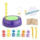 TONGJI Kinder Töpferstudio Töpferset Elektrisch Töpferscheibe, Ton, Farben Zubehör - Kreatives Spielzeug Für Kinder -