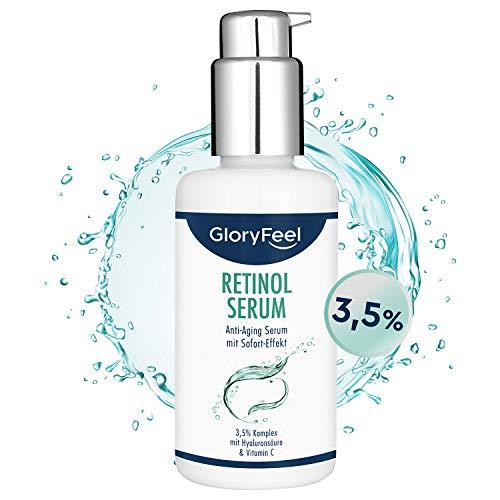 Retinol Serum Hochdosiert (3,5%) - 100ml 3-fach Pflegekomplex mit Vitamin C und Hyaluronsäure - Anti-Aging für Gesicht & Haut - Dermatologisch getestet
