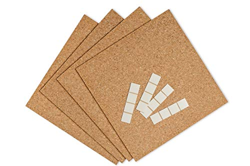 DECOSA Pinboard mit Klebepads - 4 Pack Pinntafeln aus Kork (16 Platten = 1,48 qm) - 30,5 cm x 30,5 cm x 5 mm - Für Büro, Küche, Arbeitszimmer, Kinderzimmer