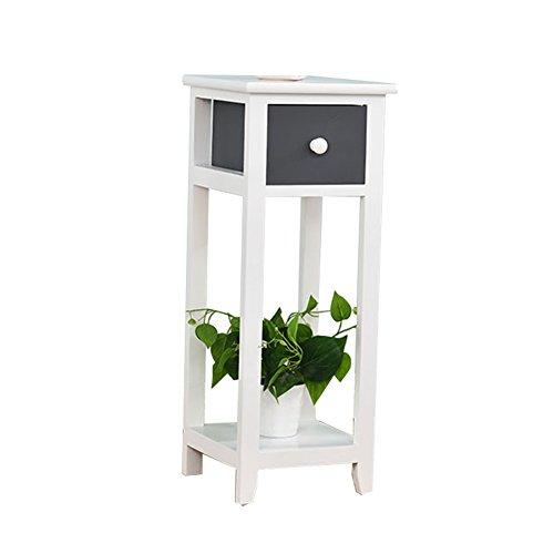 CSQ Étagères de pot de plancher d'intérieur, étagère multifonctionnelle de chambre à coucher simple en bois gris foncé de salon avec le tiroir ferme Étagère à fleurs (taille : 25 * 25 * 63CM)
