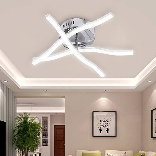 ALLOMN Luz de Techo del LED, Lámpara de Araña Luz de Techo de Diseño ondulado Moderno con 3 Luces ondulado Para Sala de Estar Dormitorio Comedor 18W (18w 3 Luces Blanco Frio)