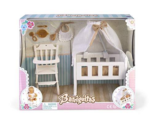 los Barriguitas- Set de Cuna, Sillita Trona y Accesorios para bebé (Famosa 700015557)