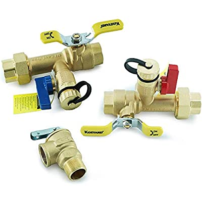 Kozyvacu 3/4-Inch IPS Isolator Tankless Water Heater Service Valve Kit with Clean Brass Construction (Renewed)