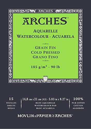 ARCHES A1795217 Block 14,8 x 21 15H Aquarelle 100% fein 185 g weiß Nat