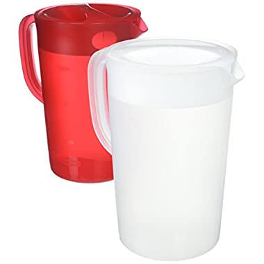 Rubbermaid One Gallon Pitchers, Red and White Pitcher