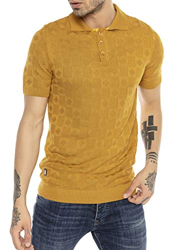 Camiseta Polo de Punto de Manga Corta y Cuello Plegable para Hombre...