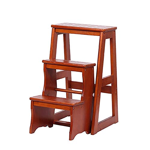 AA-stair bench LTDE Pieghevole a Ripiani in Legno Sgabello a 3 gradini per Adulti Cucina per Bambini Scalette in Legno Sgabelli per i Piedi Banco/scarpiera Portatile per Interni (Colore: A)