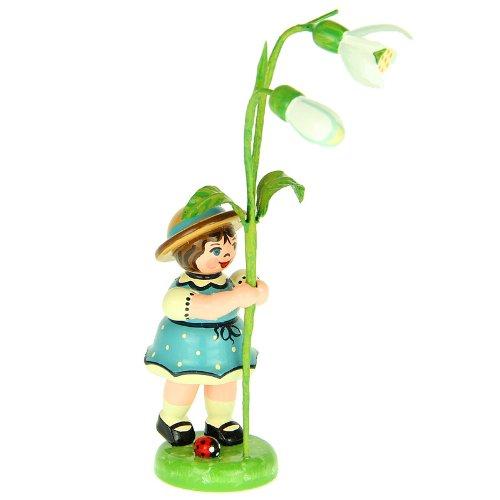 Hubrig Blumenmädchen 11cm Blumenkind mit Schneeglöckchen Erzgebirge