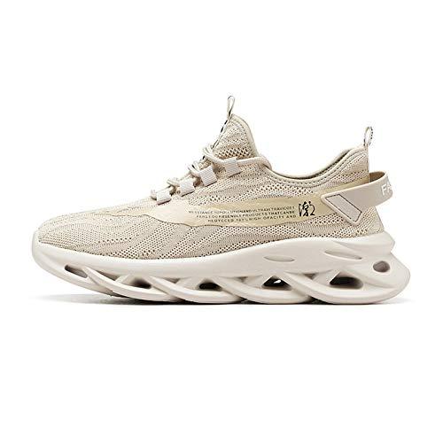 Yao Zapatillas Deportivas de Hombre, Zapatillas de Running Fitness Sneakers Zapatos de Correr Aire Libre Deportes Casual Zapatillas Ligeras para Correr Transpirable (Color : Khaki, Size : UK 6.5)