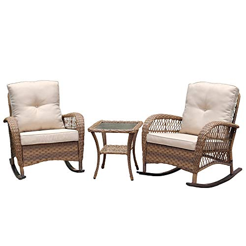 Rocking Chair Conversation 3 Stück Rattan Sitzgruppe Set Mit Kissen (Color : Light Brown)