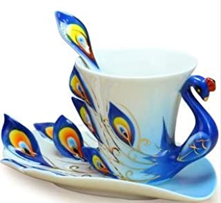 Collectable Fine Arts China Porcelain Tea Cup and Saucer Coffee Cup Peacock Theme Romantic Creative Present for Wedding/christmas Three Sets (Blue)