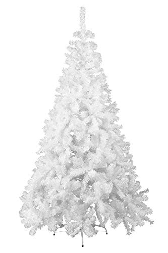 HENGMEI 210cm Artificial Árbol de Navidad Decoración Navideña, Material PVC, Blanco con Soporte en Metal