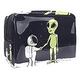 Bolsa de Maquillaje Extraterrestres astronautas espaciales Bolsa Cosmetica Portátil Viaje de Maquillaje Organizador Bolsa de Almacenamiento de Maquillaje 18.5x7.5x13cm