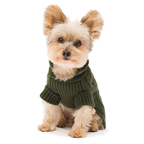 Stinky G Olive Green Aran Dog Sweater Size #10 Small