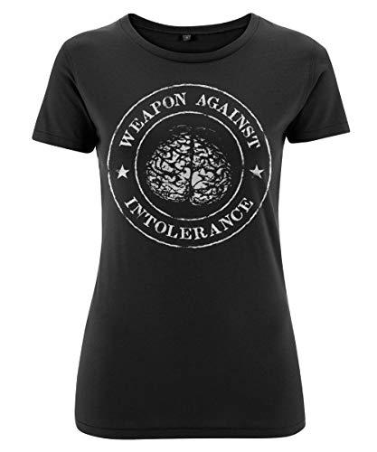 Stoned Washed Shirtz Ladyshirt - Weapon Against Intolerance - Hirn, Punk, HC, Polit, Demo, schwarz (XL)