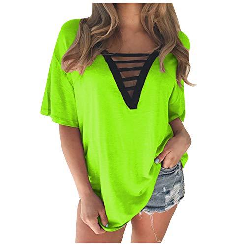 Oberteile V-Ausschnitt T-Shirt Tops Damenmode Kurzarm Langarmshirts Sweatshirt Lässig Einfarbig Pullover Blusen Tuniken (Grün, XXL)