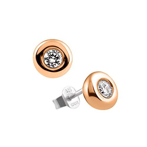 DiamonFire Damen-Ohrstecker Carats Collection Ohrringe 925 Silber teilvergoldet Zirkonia Brillantschliff weiß - 62/1678/1/082