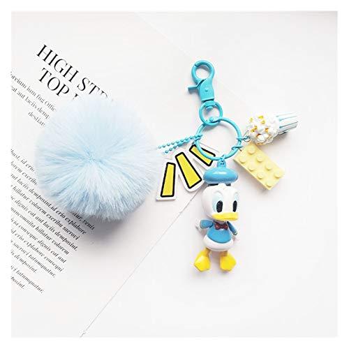 Xcwsmdq Keyring Fashion Car Accessories Cute Cartoon Fur Ball Keyring Donald Duck Keychain Women Bag Phone Plush Ball Pendant gift (Color : Blue A)