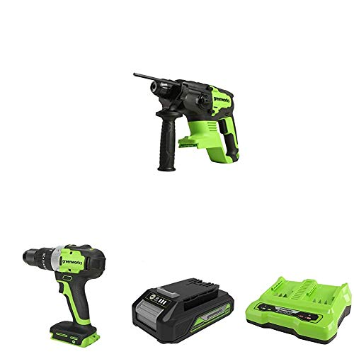 24V Rotary Hammer GD24SDS2 & 24V Cordless Drill/Screwdriver GD24DD65 & Battery G24B2 2nd Generation & 24V 2A Dual Slot Universal Charger