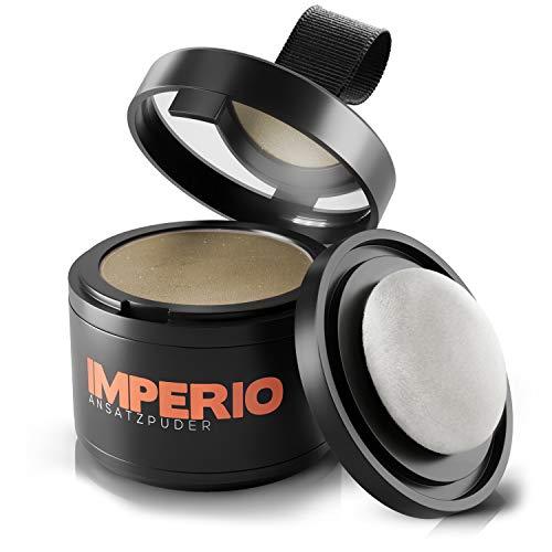 IMPERIO Ansatzpuder - Haar Concealer zur Haarverdichtung für Frauen und Männer, wasserfestes Haar Make-up zum Ansatz kaschieren - 4g (Dunkelblond)