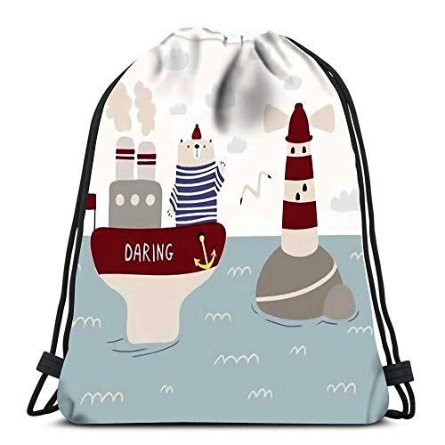 Lsjuee Backpack Drawstring Bag Dancer Silhouette Soft Polyester Gym Backpack