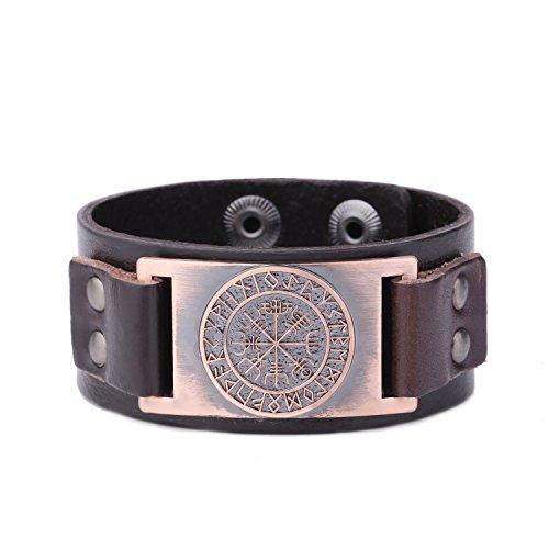 fishhook Armband aus Leder mit 24 Amulett-Runen und Wikingermotiv, Leder Metall,