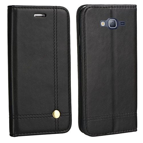 MOELECTRONIX Edle Buch Klapp Tasche SCHWARZ Flip Book Hülle Schutz Hülle Etui passend für Samsung Galaxy J3 2016 DuoS SM-J320F/DS
