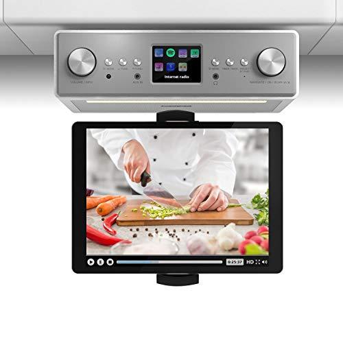 auna TESTURTEIL: SEHR GUT Connect Soundchef - mit Tablethalterung, Unterbau-Radio, Küchenradio, Unterbau-Digitalradio, DAB+, UKW, 2 x 3-Boxen, WLAN, Fernbedienung, weiß