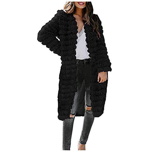 Damen Warm Fauxpelz Coat Winterjacke Winter V-Ausschnitt Solid Long Outerwear