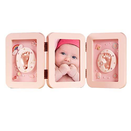 BabyBB Huella de mano y pie de bebé Marco de foto de Madera Regalo memorable Kit de arcilla de recuerdo para bebé recién nacido hembra o varón Rosa