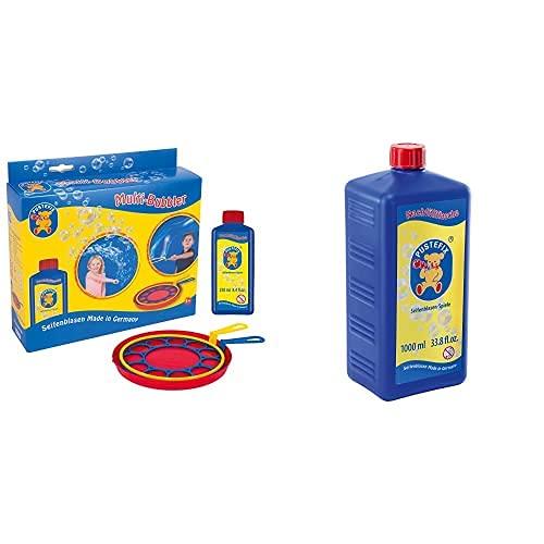 Pustefix 420869580, Juego para Hacer Pompas De Jabón, 250 Ml, Color/Modelo Surtido + Jabón Líquido para Burbujas, Botella Maxi, 1000 Ml (869-725)