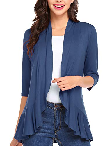 Zeagoo Womens Open Front 3/4 Sleeve Draped Ruffles Knit Cardigan,Blue,Small