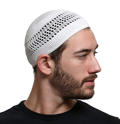 100% Cotton Skull Cap Chemo Kufi Under Helmet Beanie Hats in Solid Colors and Stripes (White with Lattice Design)