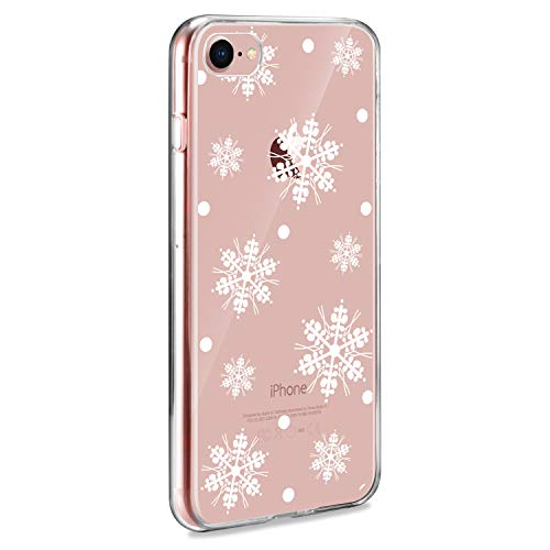 AROYI Cover iPhone 7 / iPhone 8, Trasparente Natale Pattern, Custodia iPhone 7 / iPhone 8 Crystal Clear TPU Morbido Silicone Protettiva Case per iPhone 7 / iPhone 8 [Anti-Graffio], Fiocco Neve