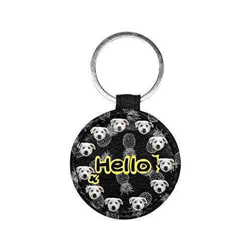 Artsadd Custom Face&Name Hello Pineapple Pet ID Tag Personalized Text Dog Tag and Cat Tag