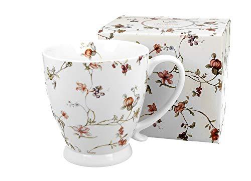 Duo Jumbotasse Becher XXL Blumenmotiv Safa 400ml aus Porzellan Trinkbecher Kaffeetasse Geschenk Büro Tasse für Kaffee Teetasse Cappuccino Kaffeebecher Riesentasse Jumbo-Tasse Kaffee-Tasse