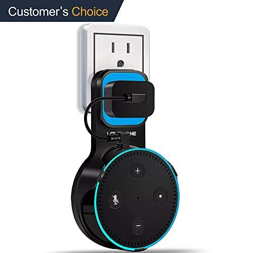LOVPHONE Outlet Wall Mount Hanger Stand for Amazon Alexa Echo Dot 2nd Generation,Space-Saving for Your Smart Home Speakers Without Messy Wires or Screws - Short Charging Cable Included (Black)