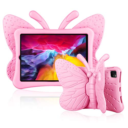 Feitenn iPad Pro 11 Case for Girls, iPad Pro 11 Case 2nd Gen, 3D Cute Cartoon Butterfly Cover Wings Kickstand Kid-Proof Non-Toxic Eva Foam Shockproof Bumper for Apple iPad Pro 11'' 2020/2018 - Pink