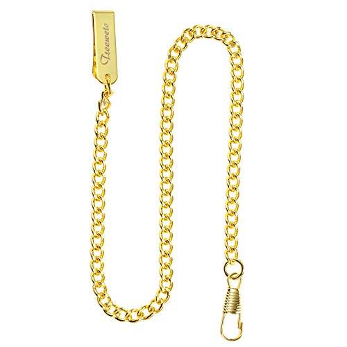 TREEWETO Reloj de bolsillo con cadena de 37,5 cm, color dorado