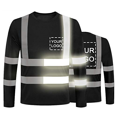 YOWESHOP High Visibility Reflective Safety T-Shirts Customize Logo Hi Vis Long Sleeve Protective Shirts with Reflective Strips (L, Black - Style 8)