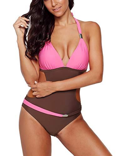 Aleumdr Damen Monokini Push-up Tankini Bauchweg Bademode Strandmode Reizvolle Schwimmanzug Einteiliger Rückenfrei Bikini Badeanzüge Rosa M