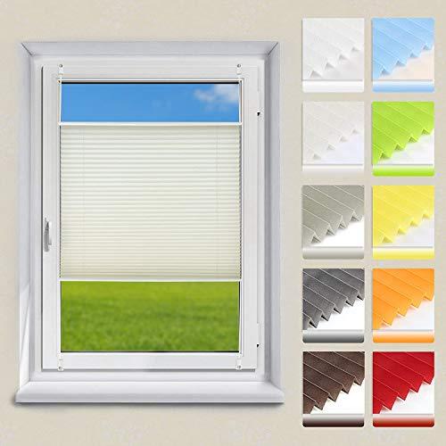 OUBO Plissee ohne Bohren Klemmfix, Beige 85x120cm (BXH), Jalousie Easyfix Faltrollo mit Klemmträger Sonnenschutz und Sichtschutz lichtdurchlässig Rollo für Fenster & Tür