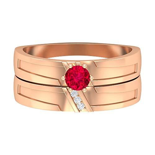 Piedra de nacimiento de julio — Solitario anillo redondo de 4 mm rubí con diamante 1/2 quilate, conjunto de anillos de boda, anillo de compromiso de dos tonos, 14K Oro rosa, Size:EU 46