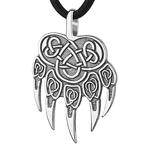 Viking Bear Claw Necklace 925 Sterling Silver-Wolf Paw Print Pendant with Celtic Knot-Norse Nordic Jewelry for Men-Animal Totem for Him-Mens Ancient Pagan Protection Amulet-Handmade