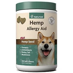 NaturVet Hemp Allergy Aid Supplement for Dogs, Hemp Seed, Antioxidants, Omegas, Dha & Epa for Healthy Skin & Respiratory Health, 120 Count