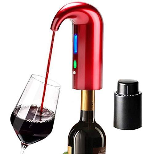 Creely Aireador de Vino EléCtrico, Aireador de Vino, Vertedor, Dispensador de Vino AutomáTico Inteligente MúLtiple, TapóN de Filtro, AireacióN, Rojo + Negro