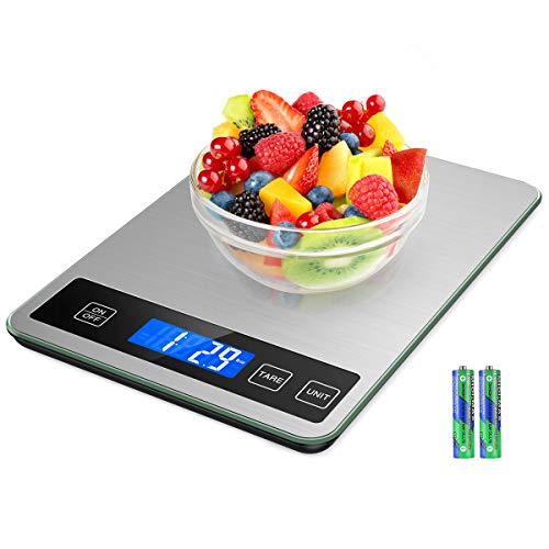 (NEW) Brifit Food Scale, 15kg/33lb Digital Kitchen scale with 1g Accuracy for Cooking Baking, Greater Accurate Multi-Function Back-Lit LCD, Stainless Steel, Tempered Glass (Battery Included)
