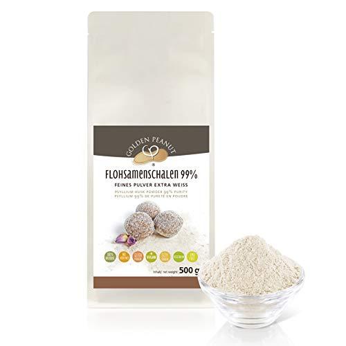 Flohsamenschalen Pulver 99 % 500g | Psyllium Pulver| fein gemahlen |ohne Zusätze | glutenfrei |geprüfte Qualität | Backzutat| Golden Peanut