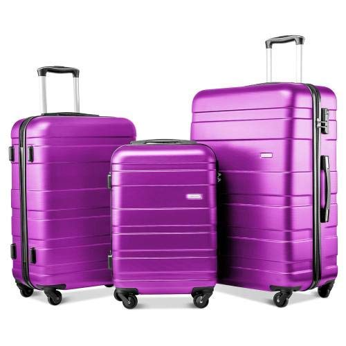 3 Pieces Suitcase Hard Shell Luggage Set Light Weight ABS 4 Wheel Travel Trolley Suitcase Holdall Cabin Case 20/24/28 inch Purple